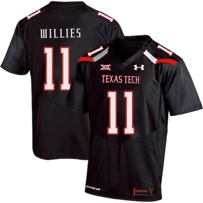NCAA Texas Tech Red Raiders 11 Derrick Willies Black College Football Men Jersey