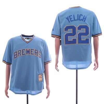 MLB Brewers 22 Christian Yelich Blue Retro Throwback Men Jersey