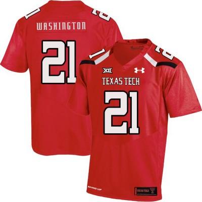 NCAA Texas Tech Red Raiders 21 DeAndre Washington Red College Football Men Jersey