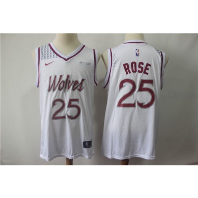 NBA Timberwolves 25 Derrick Rose  White Earned Edition Nike Men Jersey