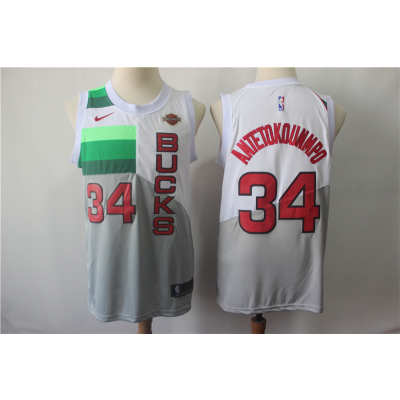 NBA Bucks 34 Giannis Antetokounmpo White Earned Edition Nike Men Jersey