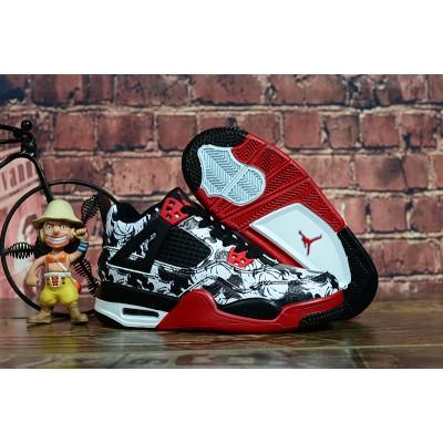 "Air Jordan 4 ""Tattoo"" Black/Fire Red-White Kids Shoes"