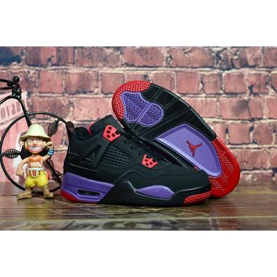 "Air Jordan 4 ""Raptors"" Black/University Red-Court Purple Kids Shoes"