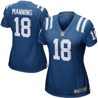 Nike Colts 18 Peyton Manning Royal Blue Women NFL Elite Jersey