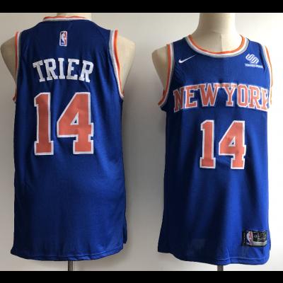 NBA Knicks 14 Allonzo Trier Blue Nike Swingman Men Jersey