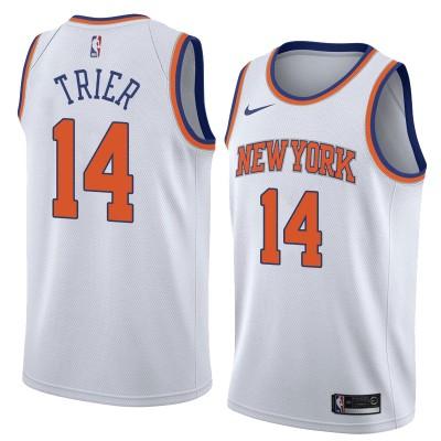 NBA Knicks 14 Allonzo Trier White Nike Swingman Men Jersey