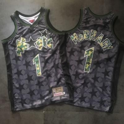 NBA Magic 1 Tracy McGrady Black Camo Hardwood Classics Men Jersey