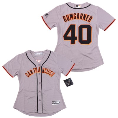 MLB Giants 40 Madison Bumgarner Gray Cool Base Women Jersey