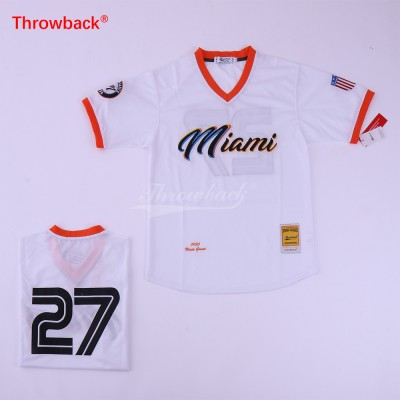 MLB Marlins 27 Giancarlo Stanton Baseball White Throwback Men Jersey