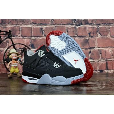 "Air Jordan 4 ""Bred"" Black/Cement Grey-Fire Red Kids Shoes"