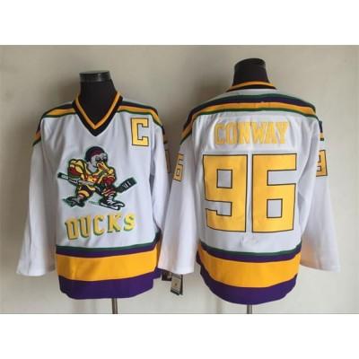 Anaheim Mighty Ducks 96 Charlie Conway White Movie Hockey Men Jersey