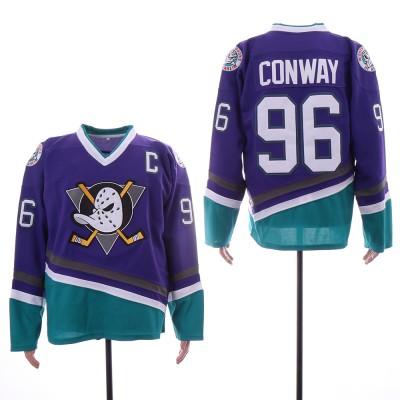 Anaheim Mighty Ducks 96 Charlie Conway Purple Movie Hockey Men Jersey