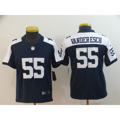 Nike Cowboys 55 Leighton Vander Esch Navy Throwback Vapor Untouchable Limited Youth Jersey