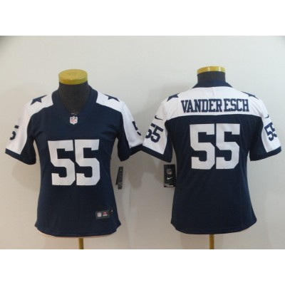 Nike Cowboys 55 Leighton Vander Esch Navy Throwback Vapor Untouchable Limited Women Jersey