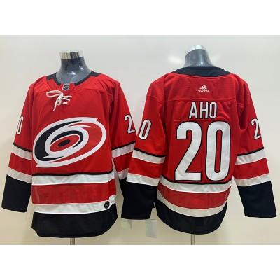 NHL Hurricanes 20 Sebastian Aho Red Adidas Men Jersey