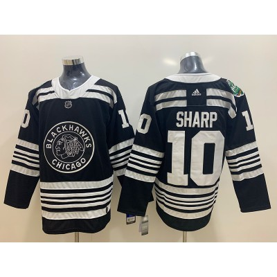 NHL Blackhawks 10 Patrick Sharp Black 2019 Winter Classic Adidas Men Jersey
