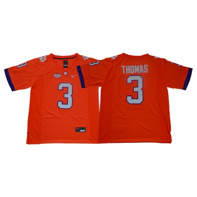 NCAA Clemson Tigers 3 Xavier Thomas Orange College Football Men Jersey