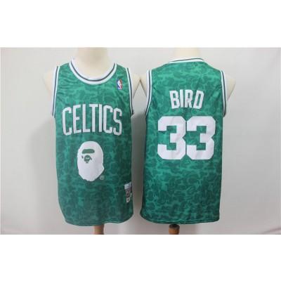 NBA Celtics Bape 33 Larry Bird Green Hardwood Classics Men Jersey