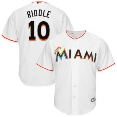 MLB Marlins 10 JT Riddle White Cool Base Men Jersey