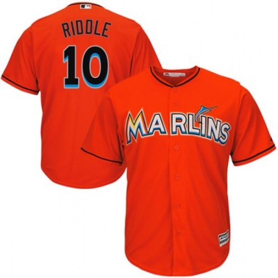 MLB Marlins 10 JT Riddle Orange Cool Base Men Jersey
