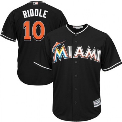 MLB Marlins 10 JT Riddle Black Cool Base Men Jersey