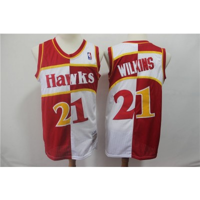 NBA Hawks 21 Dominique Wilkins Red And White Split Men Jersey