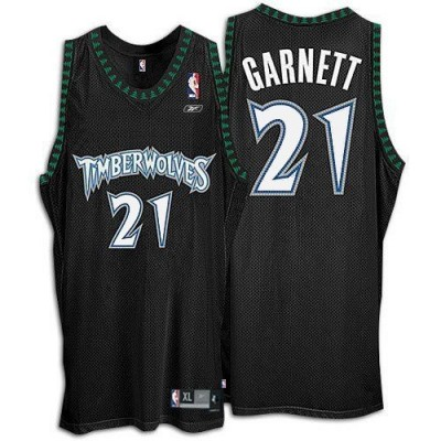 Reebok Minnesota Timberwolves 21 Kevin Garnett Black Throwback Men Jersey