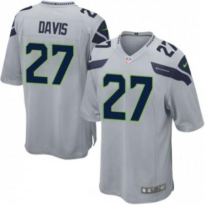 Nike Seattle Seahawks 27 Mike Davis Gray Elite Men Jersey