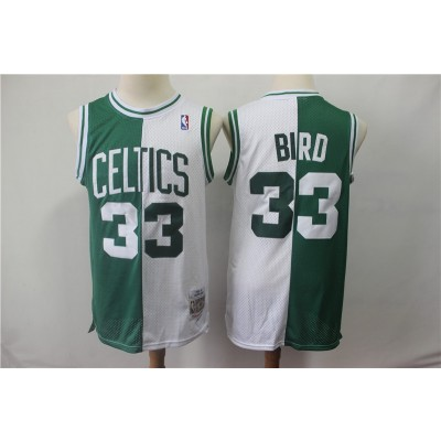 NBA Celtics 33 Larry Bird Green White Split 1985-86 Hardwood Classics Men Jersey
