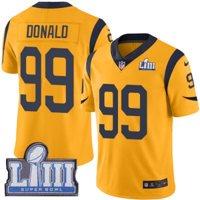 Nike Rams 99 Aaron Donald Gold 2019 Super Bowl LIII Color Rush Limited Youth Jersey