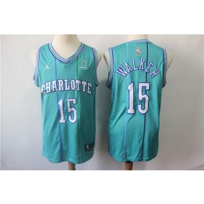 NBA Hornets 15 Kemba Walker Teal Throwback Jordan Brand Men Jersey