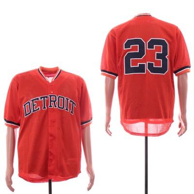 MLB Tigers 23 Kirk Gibson Orange Mesh Throwback Men Jersey