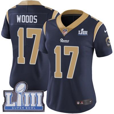 Nike Rams 17 Robert Woods Navy 2019 Super Bowl LIII Vapor Untouchable Limited Women Jersey