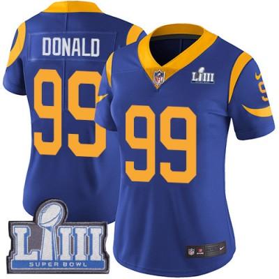 Nike Rams 99 Aaron Donald Royal 2019 Super Bowl LIII Vapor Untouchable Limited Women Jersey