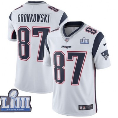 Nike Patriots 87 Rob Gronkowski White 2019 Super Bowl LIII Vapor Untouchable Limited Youth Jersey