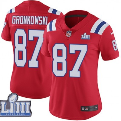 Nike Patriots 87 Rob Gronkowski Red 2019 Super Bowl LIII Vapor Untouchable Limited Women Jersey