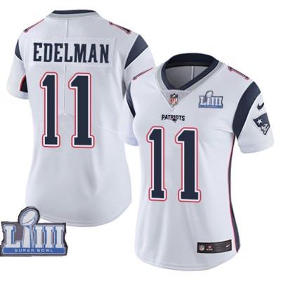 Nike Patriots 11 Julian Edelman White 2019 Super Bowl LIII Vapor Untouchable Limited Women Jersey