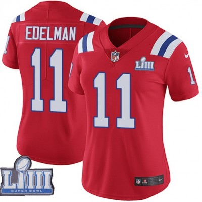 Nike Patriots 11 Julian Edelman Red 2019 Super Bowl LIII Vapor Untouchable Limited Women Jersey