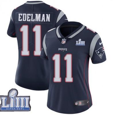Nike Patriots 11 Julian Edelman Navy 2019 Super Bowl LIII Vapor Untouchable Limited Women Jersey