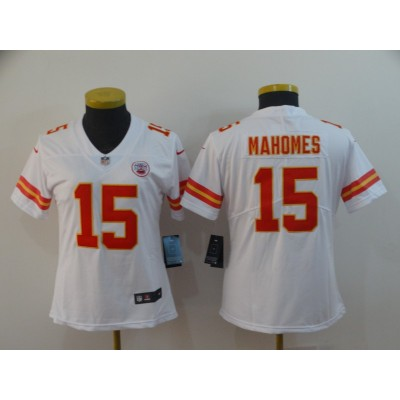 Nike Chiefs 15 Patrick Mahomes White Vapor Untouchable Limited Women Jersey