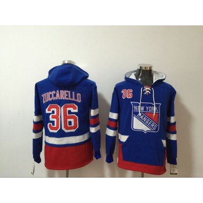 NHL Rangers 36 Mats Zuccarello Royal All Stitched Hooded Men Sweatshirt