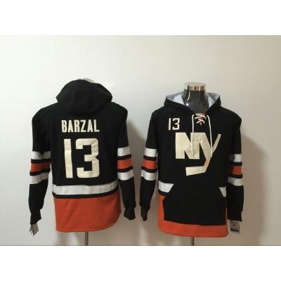 NHL Rangers 13 Mathew Barzal Black All Stitched Hooded Men Sweatshirt
