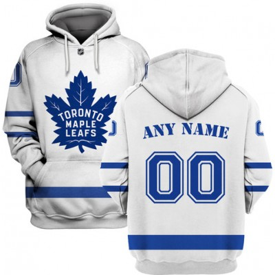 NHL Maple Leafs White Customized All Stitched Hooded Men Sweatshirt