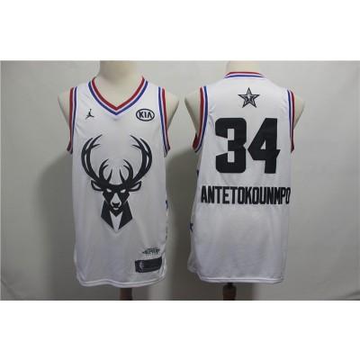 NBA Bucks 34 Giannis Antetokounmpo 2019 All-Star White Swingman Men Jersey