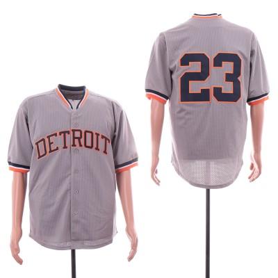 MLB Tigers 23 Kirk Gibson Gray Mesh Throwback Men Jersey