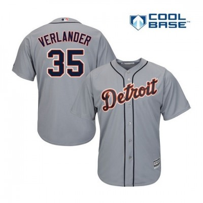 MLB Tigers 35 Justin Verlander Gray Cool Base Men Jersey