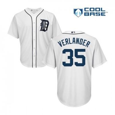 MLB Tigers 35 Justin Verlander White Cool Base Men Jersey