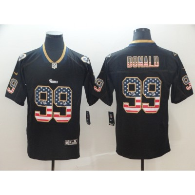 Nike Rams 99 Aaron Donald Black USA Flag Fashion Limited Men Jersey