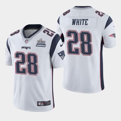 Nike Patriots 28 James White White 2019 Super Bowl LIII Champions Vapor Untouchable Limited Men Jersey