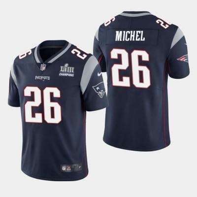 Nike Patriots 26 Sony Michel Navy 2019 Super Bowl LIII Champions Vapor Untouchable Limited Men Jersey